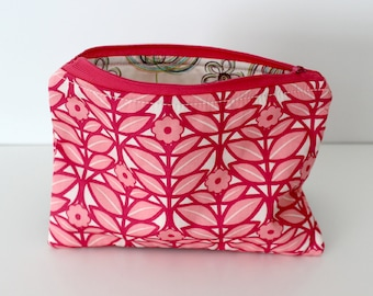 Pink Scandi Flowers/Sketchy Zipper Bag