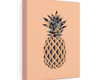 Pointy Pineapple Print On Canvas  Tan
