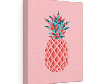 Pointy Pineapple Print On Canvas  Pink