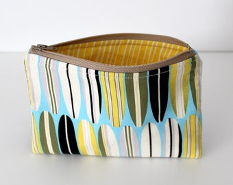 Surf/Yellow Weave Zipper Bag