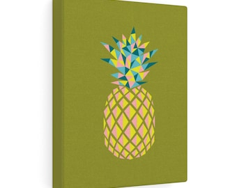 Pointy Pineapple Print On Canvas  Green