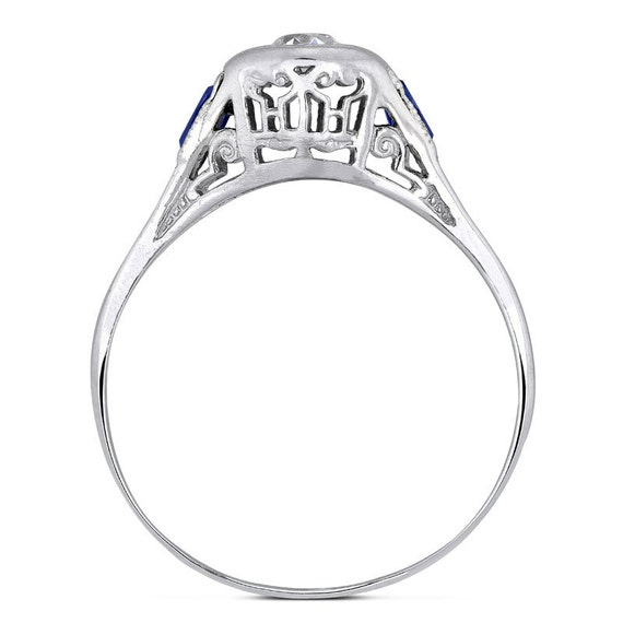Art Deco Diamond Solitaire Ring 14k White Gold Blue Sapphire