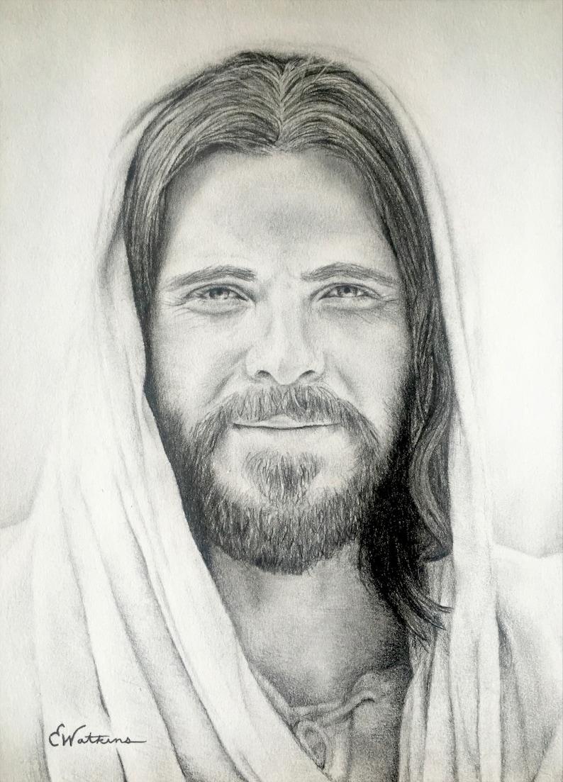 Jesus christ pencil drawing print