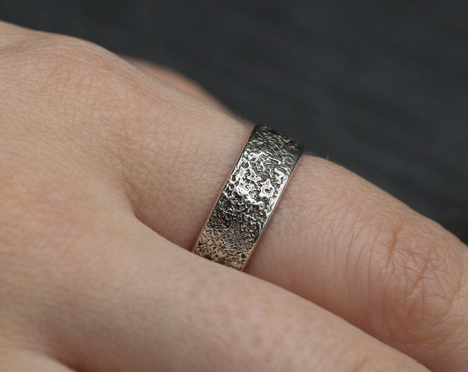 Crater Texture Sterling Silver Ring