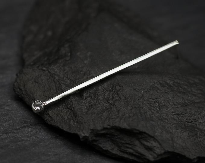 White Topaz Long Wire Earring