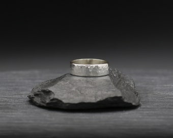 Large Rectangle Hammer Textured Ring