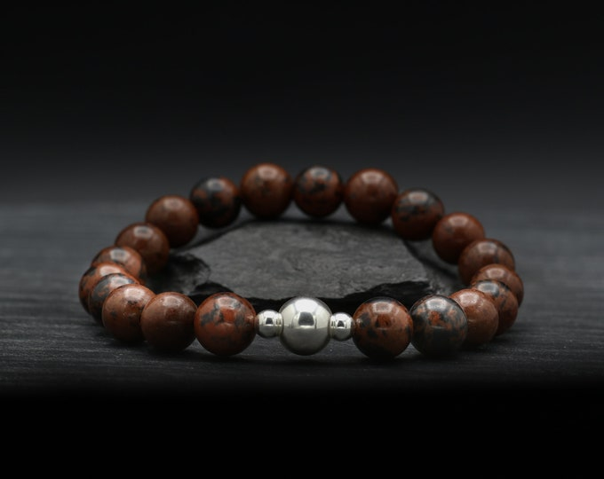 Mahogany Obsidian Beaded Bracelet