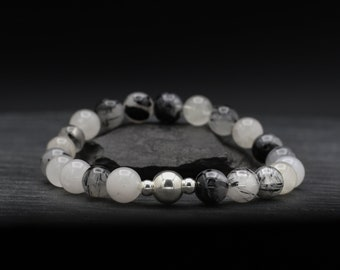 Tourmalinated Quartz Beaded Bracelet