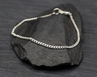 Sterling Silver Thin Curb Chain Bracelet