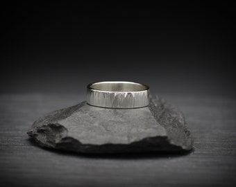Large Bark Texture Sterling Silver Ring