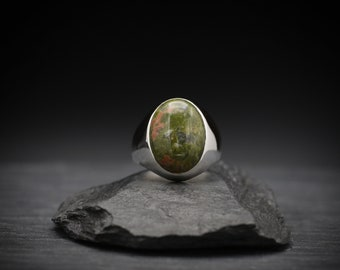 Unakite x Sterling Silver Signet Ring