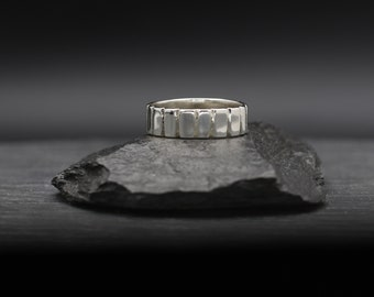 Textured Cuts Sterling Silver Band