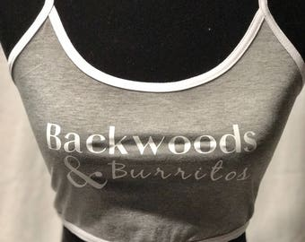 Backwoods & Burritos womens halter crop top