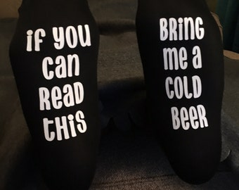 Black womens ankle socks- if you can read this Bring Me Beer Socks