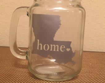 """Louisiana """"Home"""" Mason Jar Mug"""