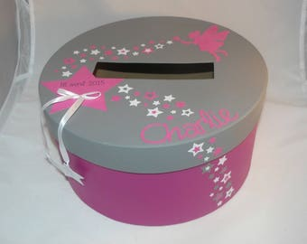 Urn round baptism fairy star girl hot pink and gray steel table decoration