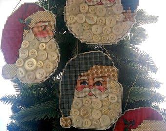 Santa Button Ornaments