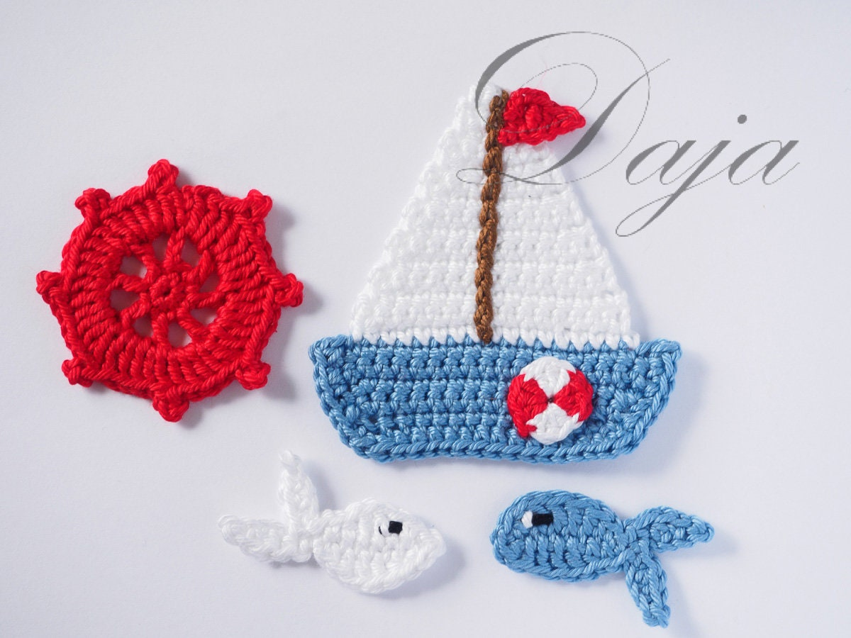Crochet Sea life appliques Crochet Sailboat 2 fish & Wheel | Etsy