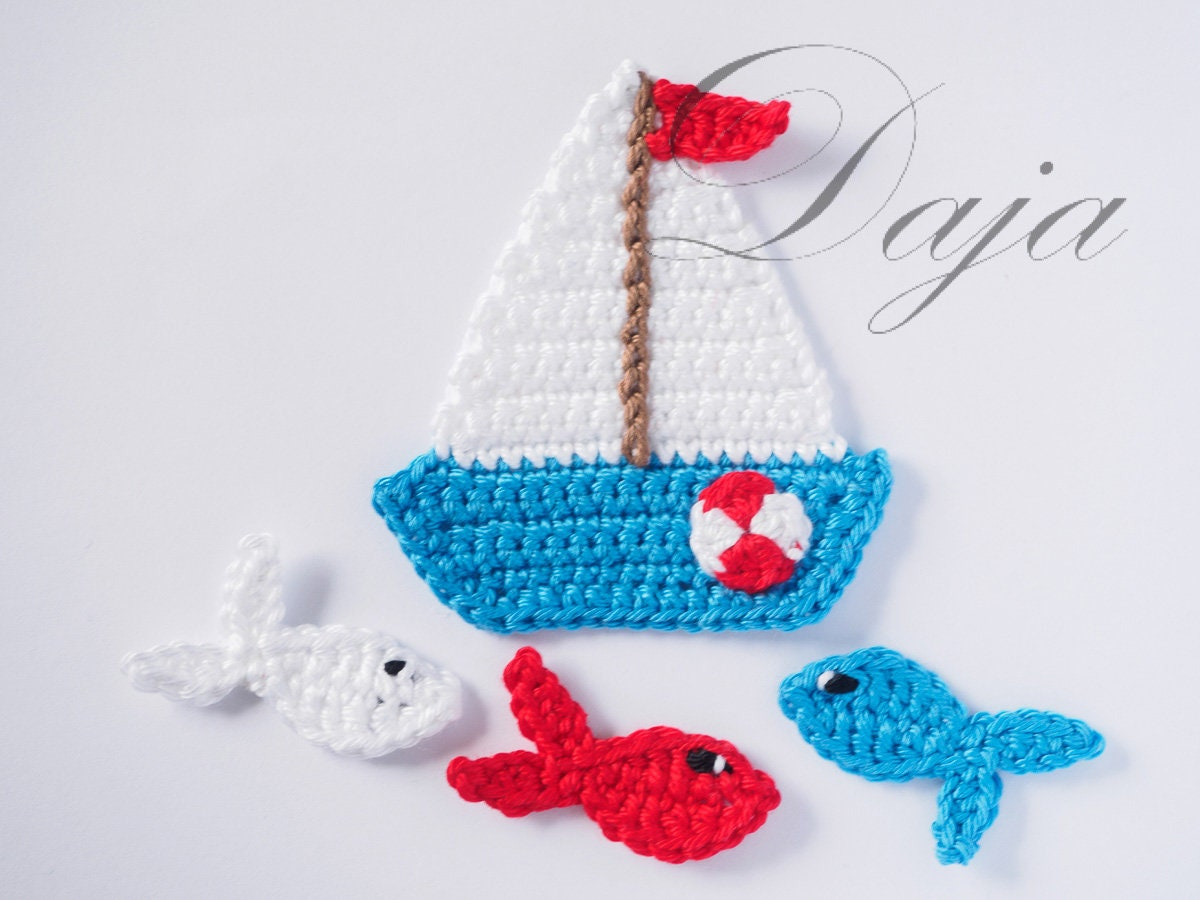 Crochet Sea life appliques Crochet Sailboat & 3 fish | Etsy