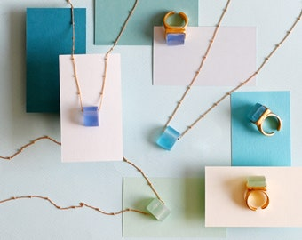 Sea Glass Necklace   Sustainable Jewelry   Simple Necklace   Best Gift Ideas   Summer Jewelry   Eco Friendly Products