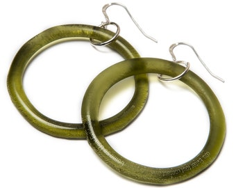 Aveda Bottle Recycled Glass Hoop Earrings