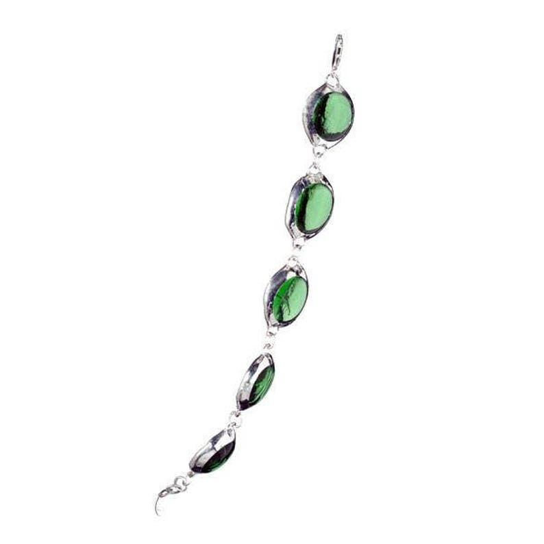 Classic Glass Bracelet Adjustable and Strengthened with Silver Clasps Multiple Colors Pink Red Green Blue