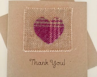 Thank You Card - Personalised Thanks Card - Thanks Card - Thank You - Scottish Card - Tartan card - Hessian Card- Kraft Card