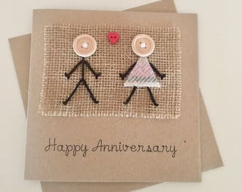 Anniversary Card - Personalised Anniversary Card - Happy Anniversary Card - Scottish Card - Tartan Card - Kraft Card - Hessian Card