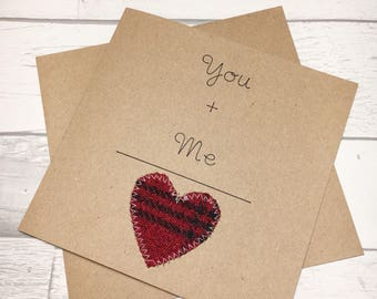 You + Me = Love - Valentines Card - Valentines Card for Him - Valentines Card for Her - Anniversary Card - Tartan Card - Scottish Card