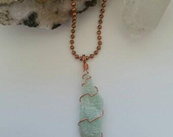 Communication - Amazonite Necklace, Pendant, Wire Wrapped Pendant, Crystal Healing Necklace, Crystal Jewelry, Copper Jewelry, Integrity