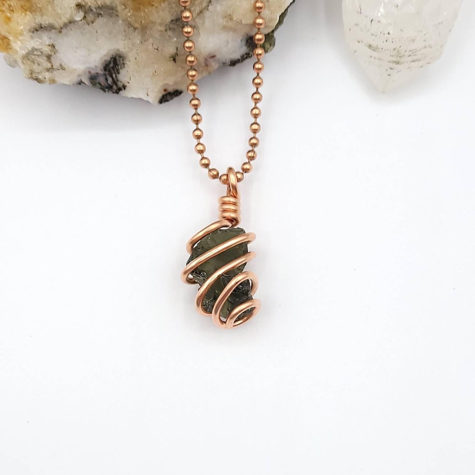Moldavite Necklace, Copper Wire Wrapped Moldavite Pendant, Tektite Jewelry, Rare Crystal Necklace