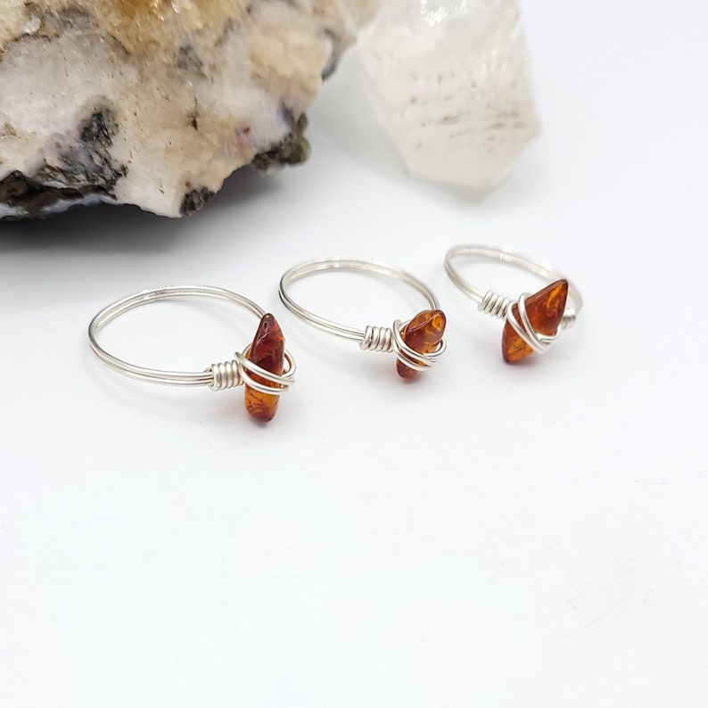 Amber Ring Silver Wire Wrapped Ring
