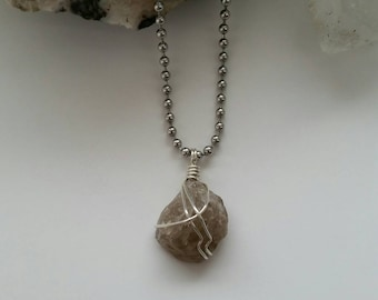 Protection - Smoky Quartz Necklace, Wire Wrapped Pendant, Sterling Silver Jewelry, Crystal Healing, Centering, Smokey Quartz Pendant