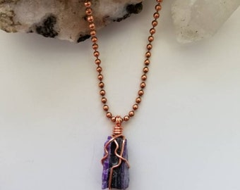 Empath - Sugilite Necklace, Sugilite With Manganese,  Wire Wrapped Pendant, Crystal Healing, Copper Wire Jewelry, Rare Crystals, Protection