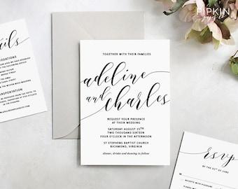 Premium printable wedding invitations and by pipkinpapercompany printable wedding invitation made to order header script invitation template customizable digital template free rsvp adeline stopboris Choice Image