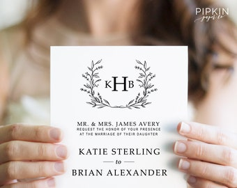 wedding invitation template digital download for word etsy