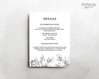 wedding accommodations template printable accommodations etsy