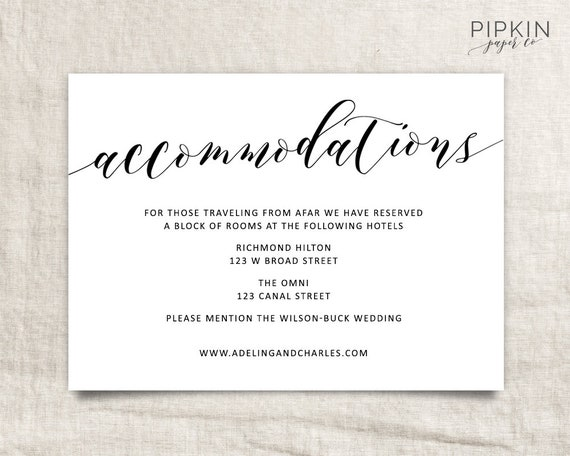 wedding accommodations template printable accommodations. Black Bedroom Furniture Sets. Home Design Ideas