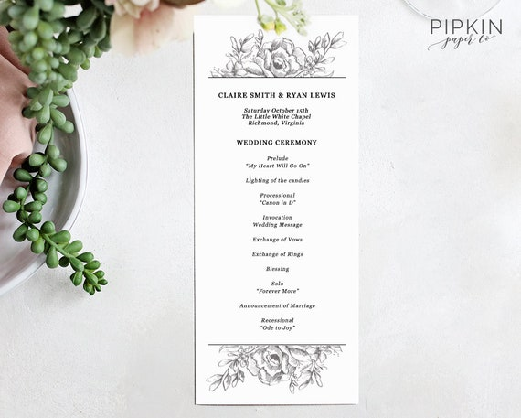 wedding program template wedding ceremony program etsy
