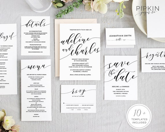 Wedding Invitation Set Printable Wedding Invitations For Etsy