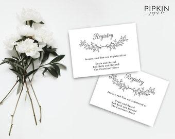 Wedding Registry Template   Wedding Registry Card   Enclosure Card Template   Baby Shower Registry   Gift Registry Cards