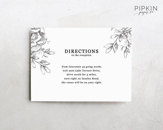 Wedding Directions Card Template Printable