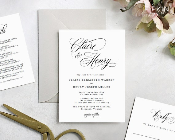 Wedding Invitations Wedding Invitation Template Download Made To Order Header Customizable Digital Template Free Rsvp Claire