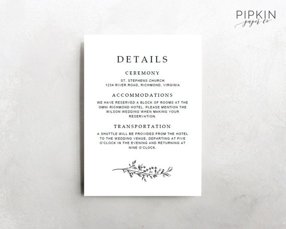 wedding details template printable wedding template etsy