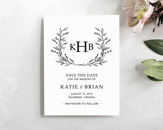 Printable Save The Date Template Digital Download For Word Floral Wreath Invitation Fully Customizable Katie