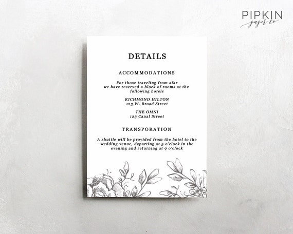 wedding details template information card template wedding etsy