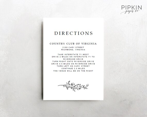 wedding directions template digital download for word etsy