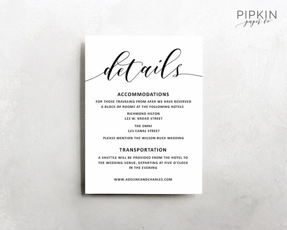 Wedding Invite Information: Wedding Details Template Wedding Information Card Rustic