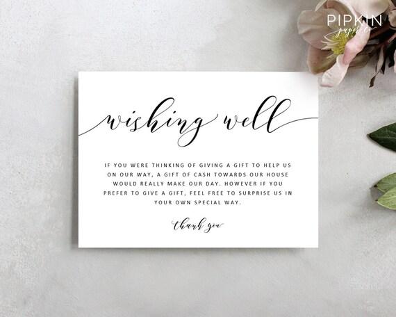 Wedding Wishing Well Template Printable Wishing Well Card Printable Wedding Best Wishes Enclosure Card Invitation Insert Adeline