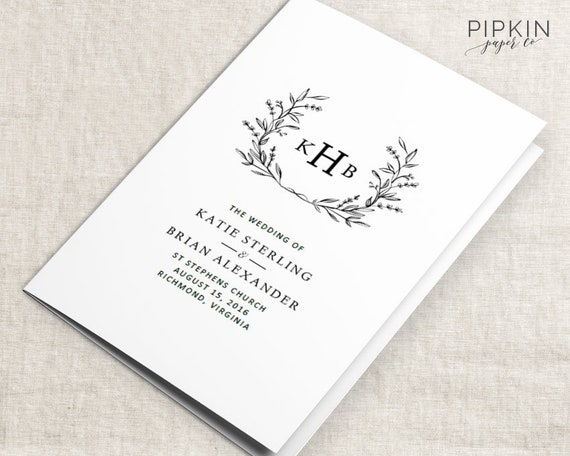 wedding programs wedding order of service template wedding etsy